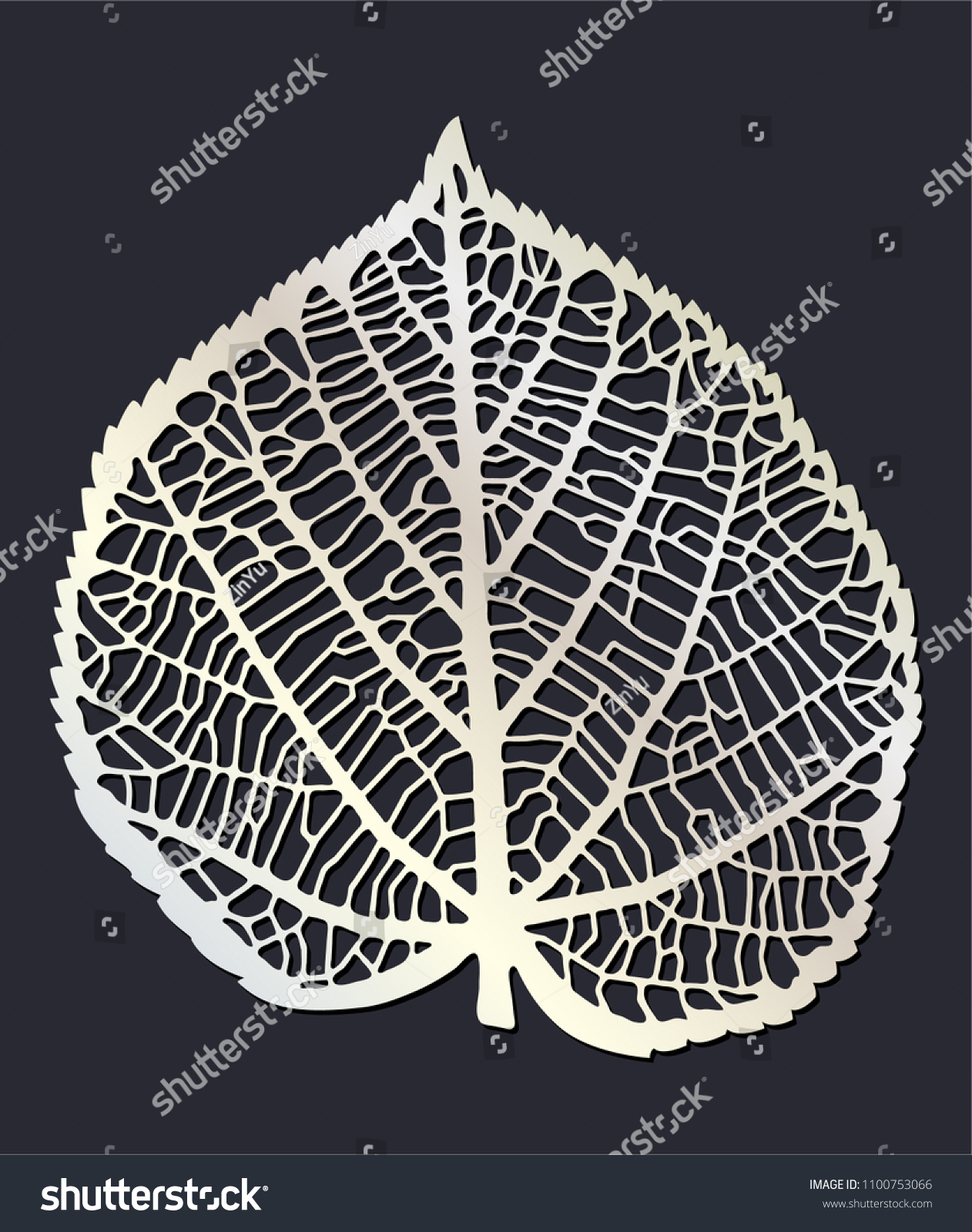 Laser Cutting Template Skeleton Leaf One Stock Vector (Royalty Free ...