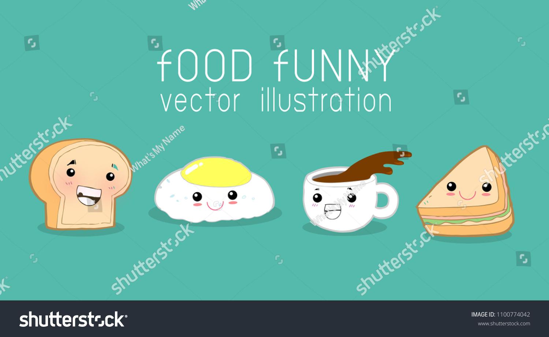 Fun Breakfast Funny Food Eggs Toast Stock Vector (Royalty