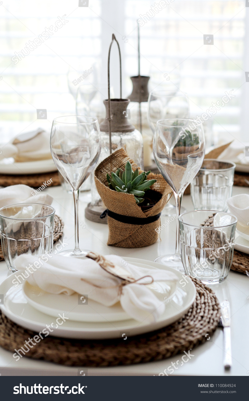 Table Setting For Lunch : Summer Table Setting For Lunch Stock Photo 110084924 : Shutterstock