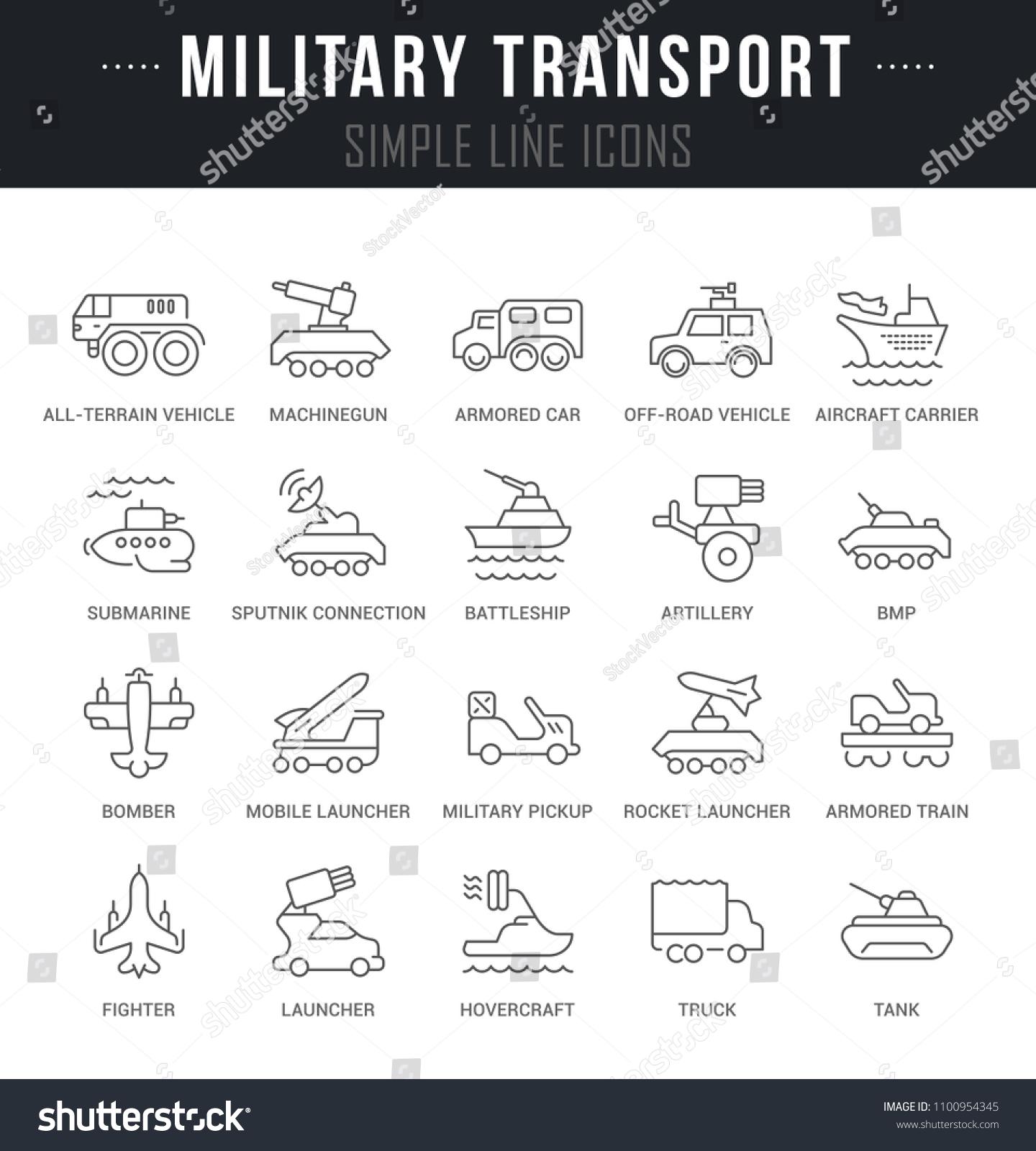 Set Outline Signs Symbols Military Transport Stock Vector 1100954345