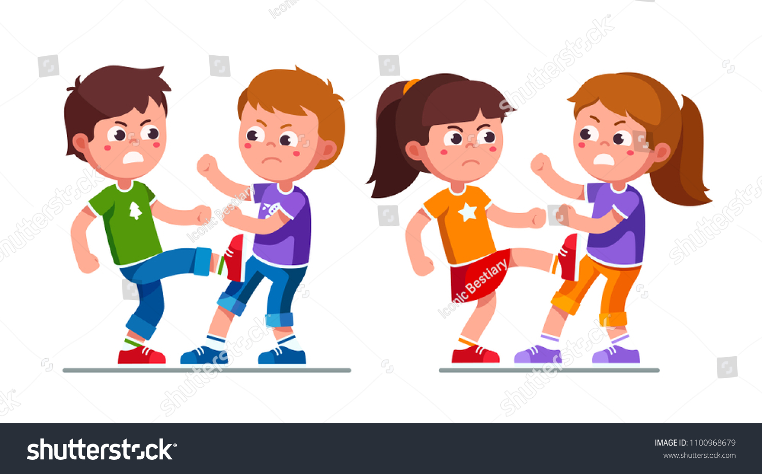 angry preschool boys girls kids fighting stock vector (royalty free