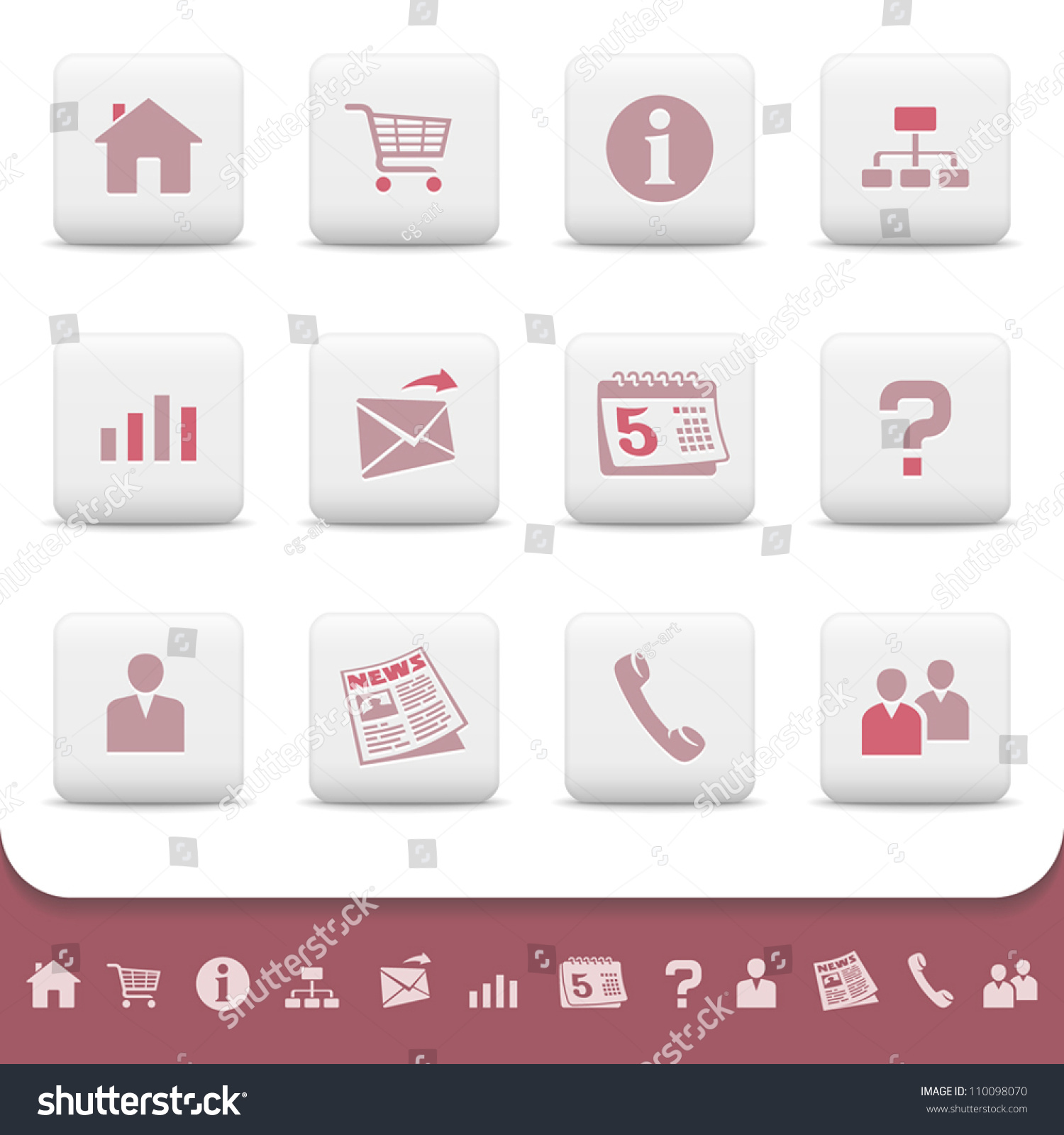 Professional web icons on white buttons vector set 1 for Home shopping sites