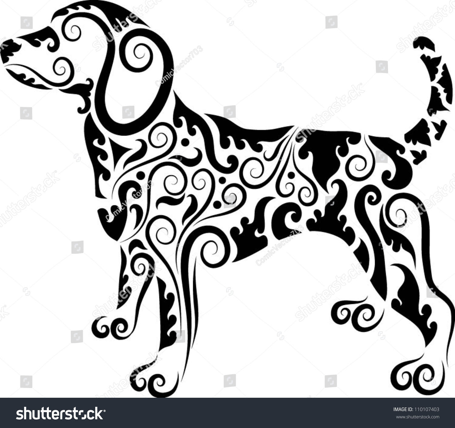 Animal ornaments - Dog Ornaments Animal Drawing With Floral Ornament Decoration Use For Tattoo T