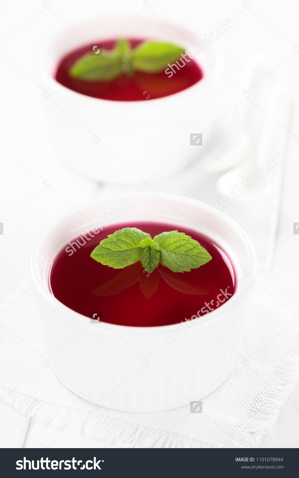 Red Jelly Jello White Bowls Garnished Stock Photo Edit Now