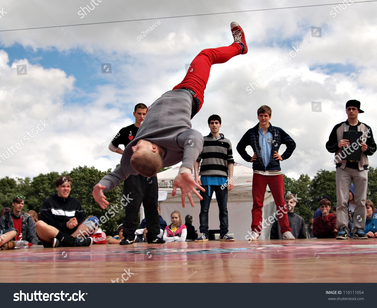 Jekabpils Latvia June 2 An Unidentified B Boy Breakdances Battle At An Dance Competitions Ghetto Games On June 2 2012 In Jekabpils Latvia Image