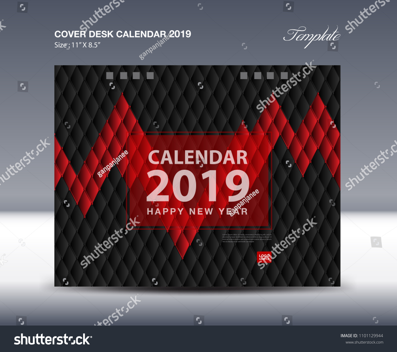 Cover Desk Calendar 2019 Design Flyer Stock Vector Royalty Free