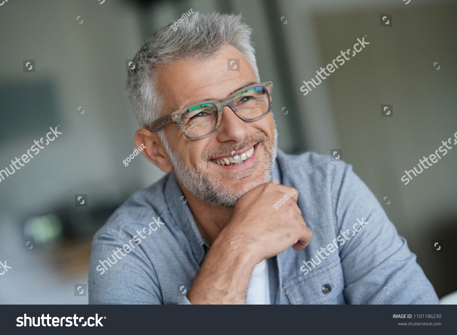Middle-aged guy with trendy eyeglasses #1101186230