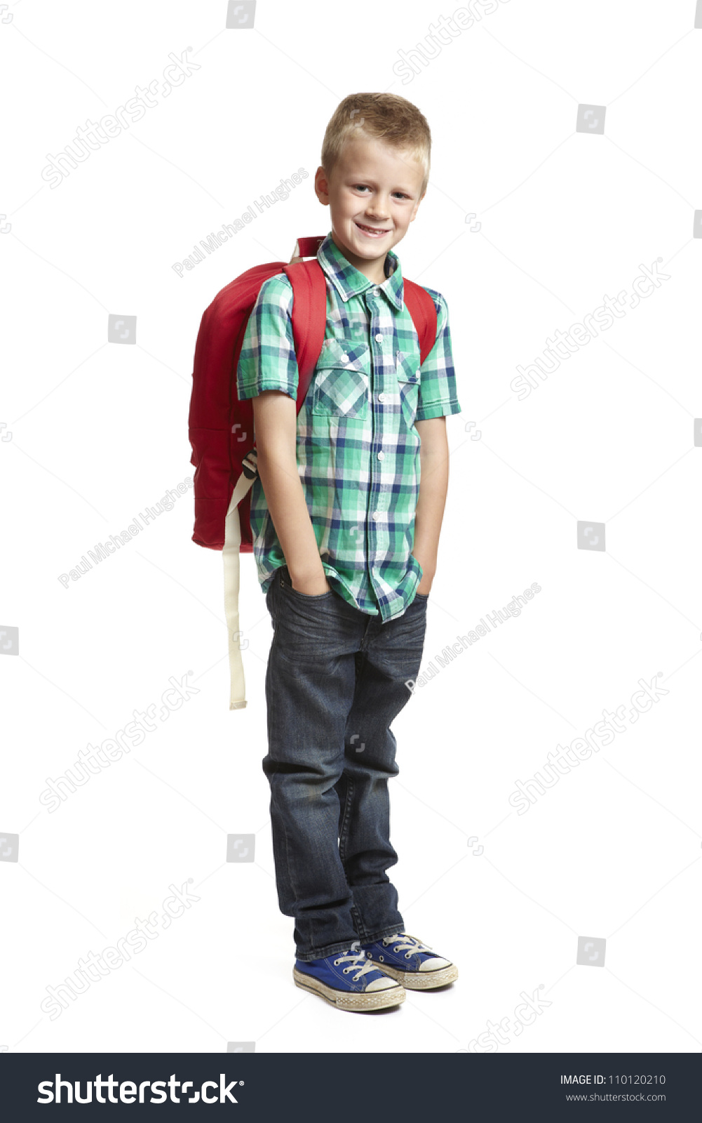 8 Year Boy Bedroom Design: 8 Year Old School Boy With Backpack On White Background