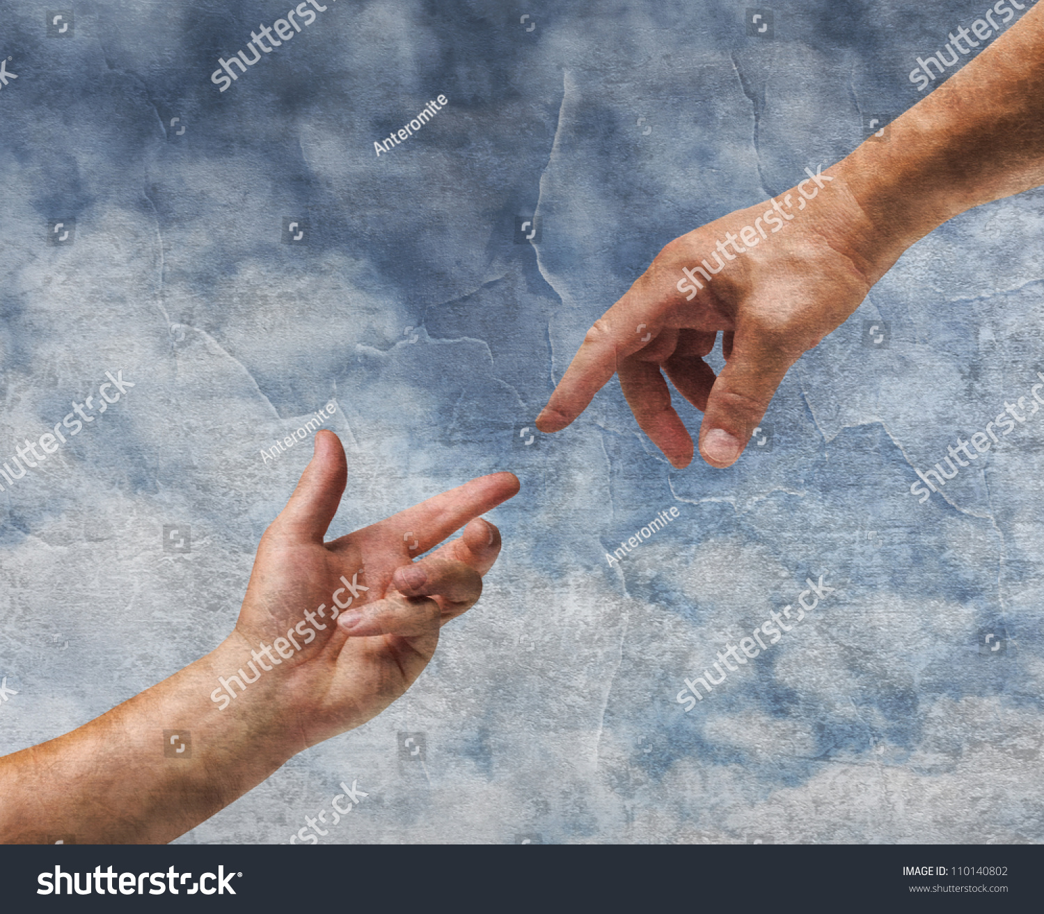 Two hands god adam reaching old stock photo 110140802 for Watercolor paintings of hands