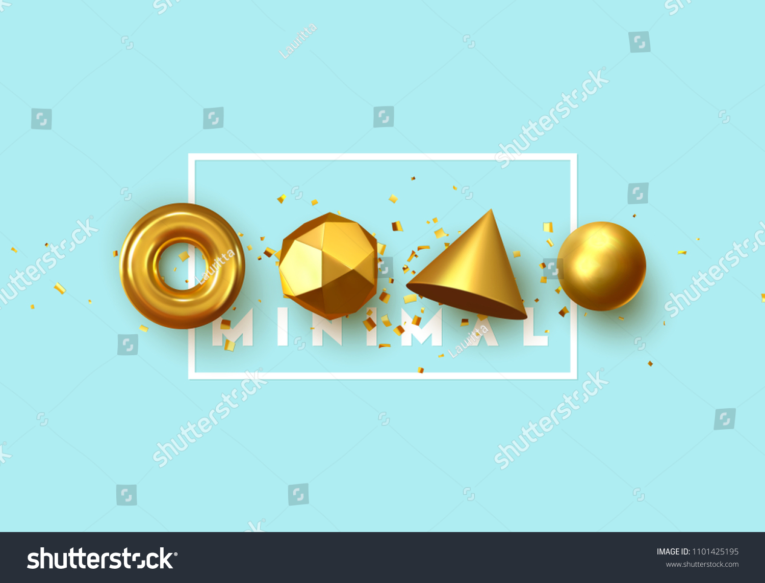 Abstract geometric background. 3D Shapes, golden color spheres, torus, cones. Art Trendy Minimal Design #1101425195