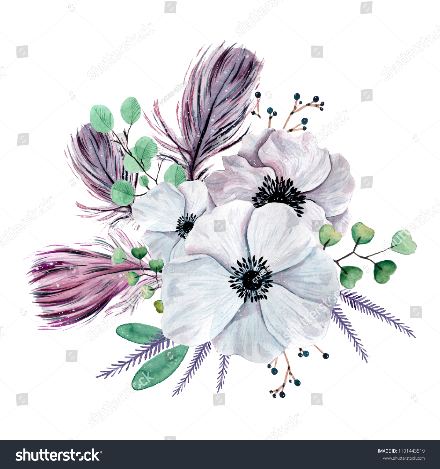 Watercolor Shabby Chic Flowers Bouquet Hand Stock Illustration ...
