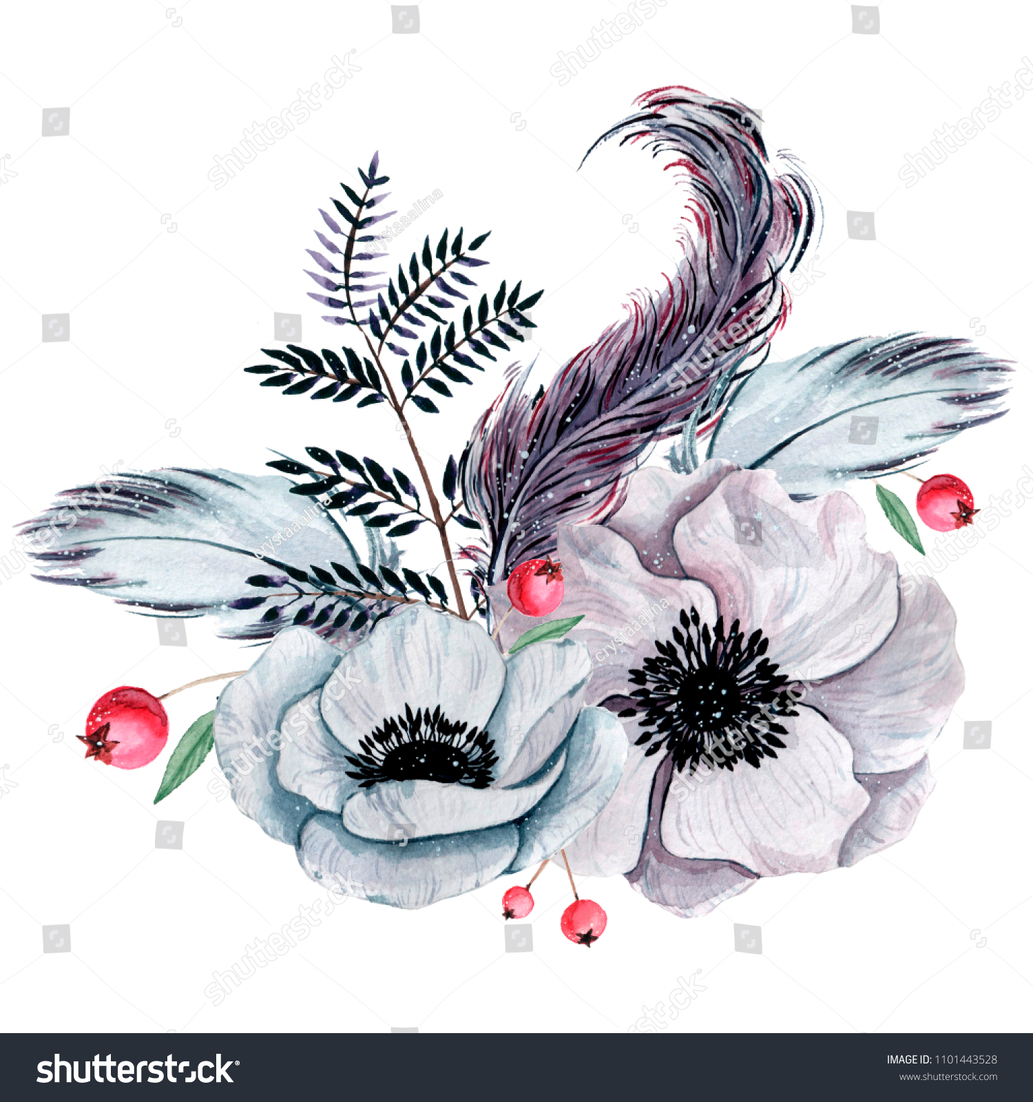 Watercolor shabby chic flowers bouquet hand stock illustration watercolor shabby chic flowers bouquet hand painted isolated boho style with feathers izmirmasajfo