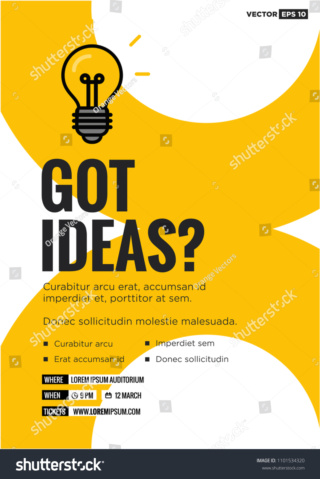 Got Ideas Event Poster Bulb Illustration Stock Vector Royalty Free 1101534320