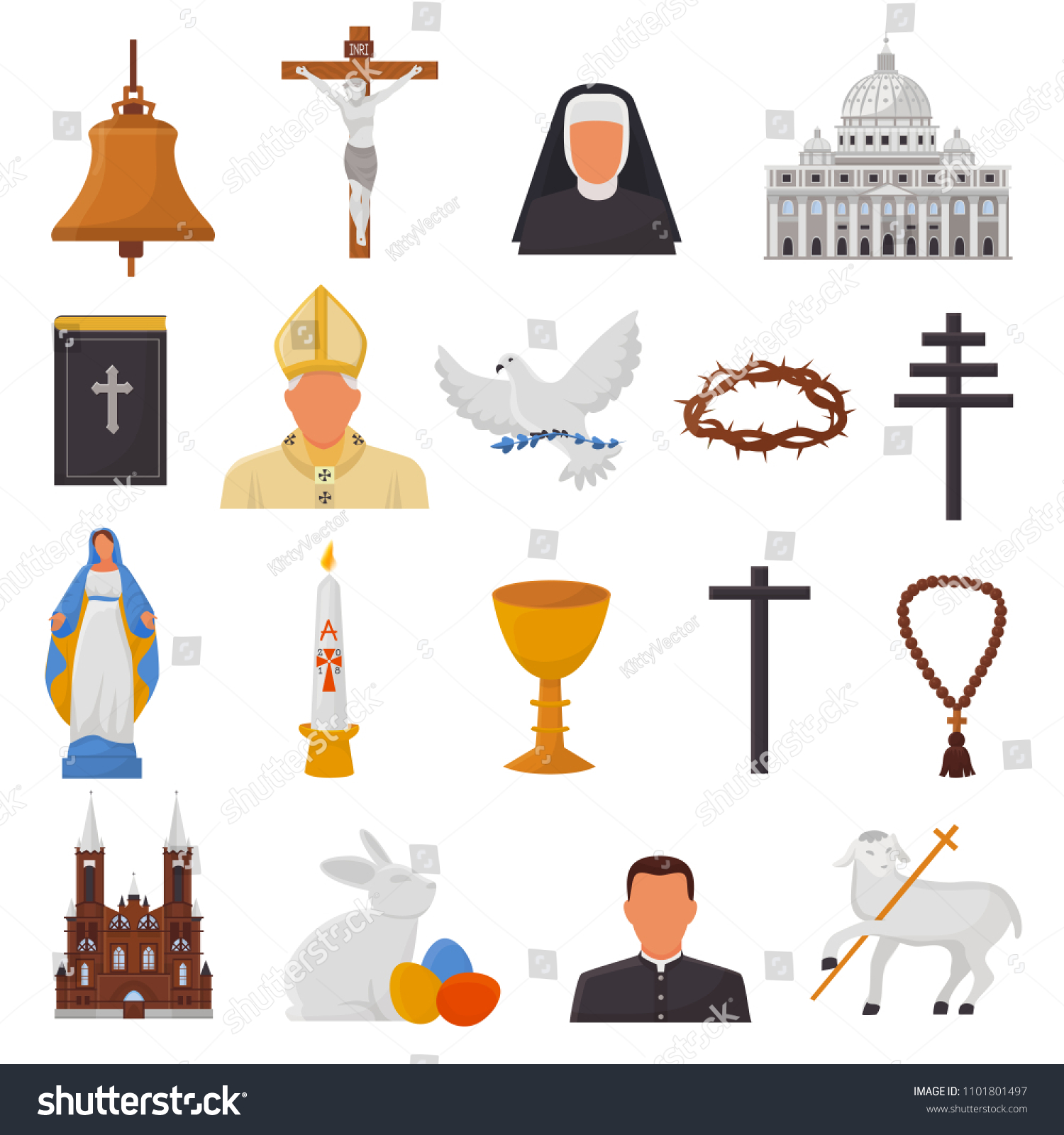 Christian Icons Vector Christianity Religion Signs Stock Vector