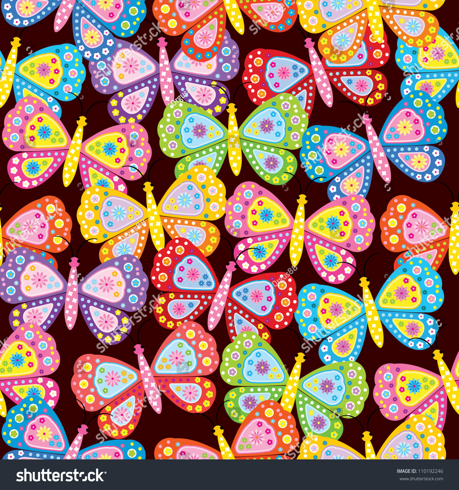 seamless pattern with butterfly amp flower stock vector