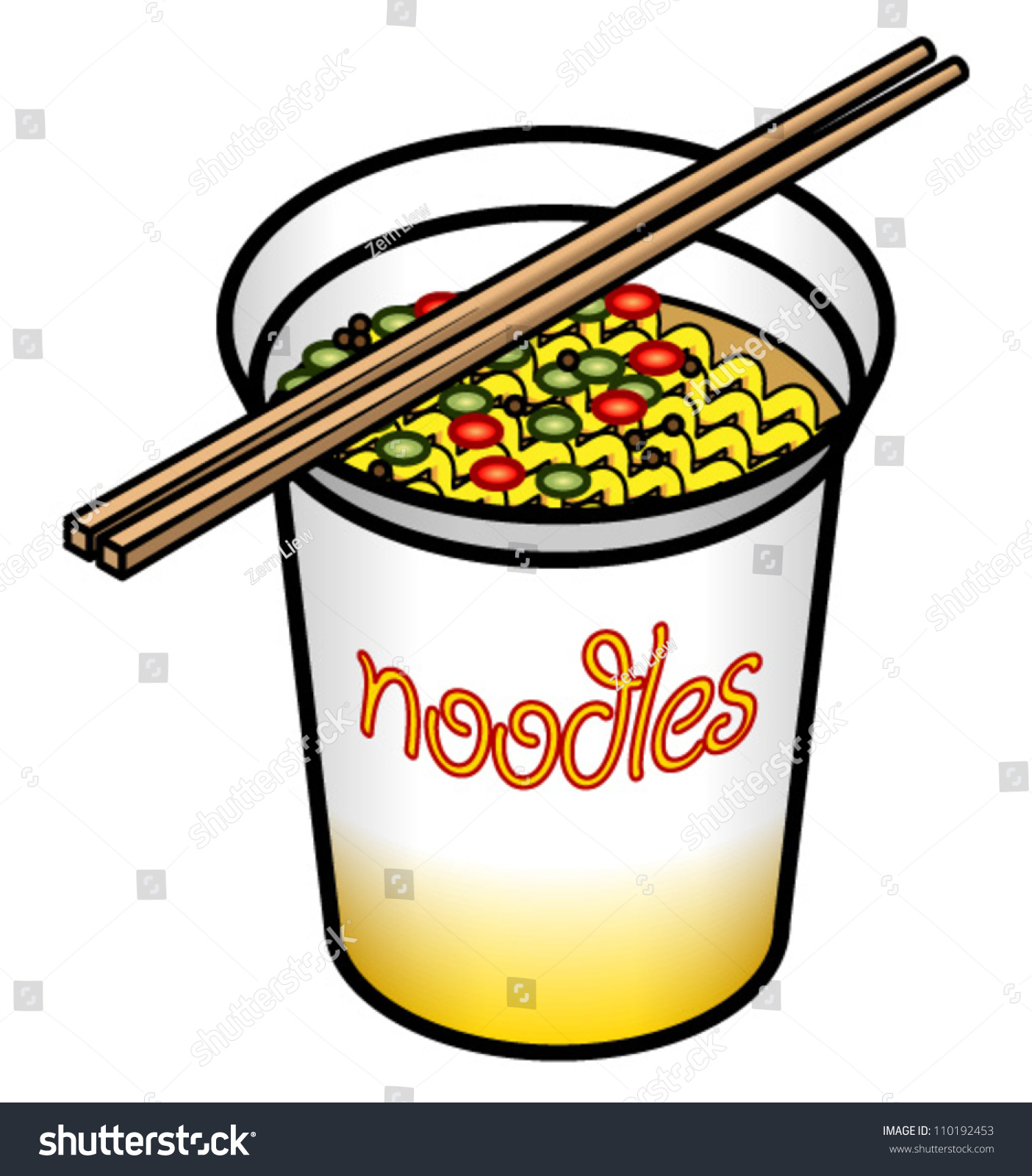 Instant Message Clip Art : A hot cup of instant noodles stock vector illustration