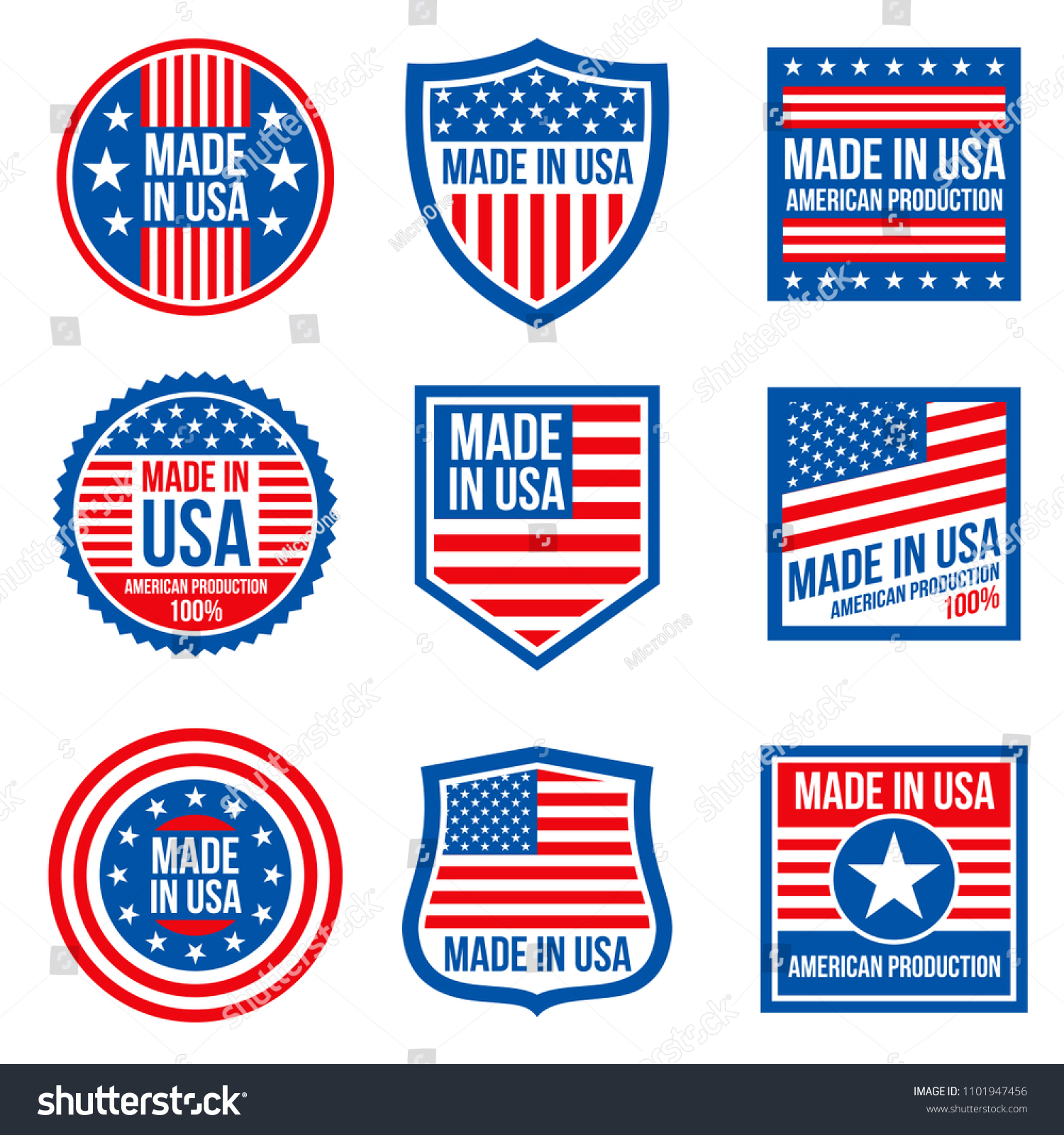 Vintage Made Usa Badges American Patriotic Stock Illustration