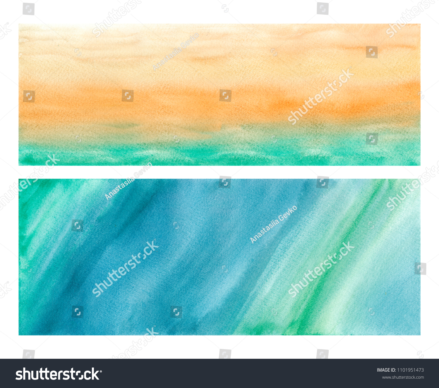 Orange, Green And Blue Painted Background Abstract Watercolor Background Ink