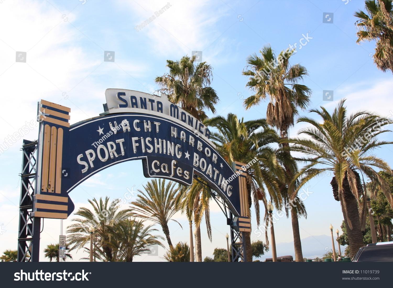 Famous Sign Santa Monica Pier Southern Stock Photo