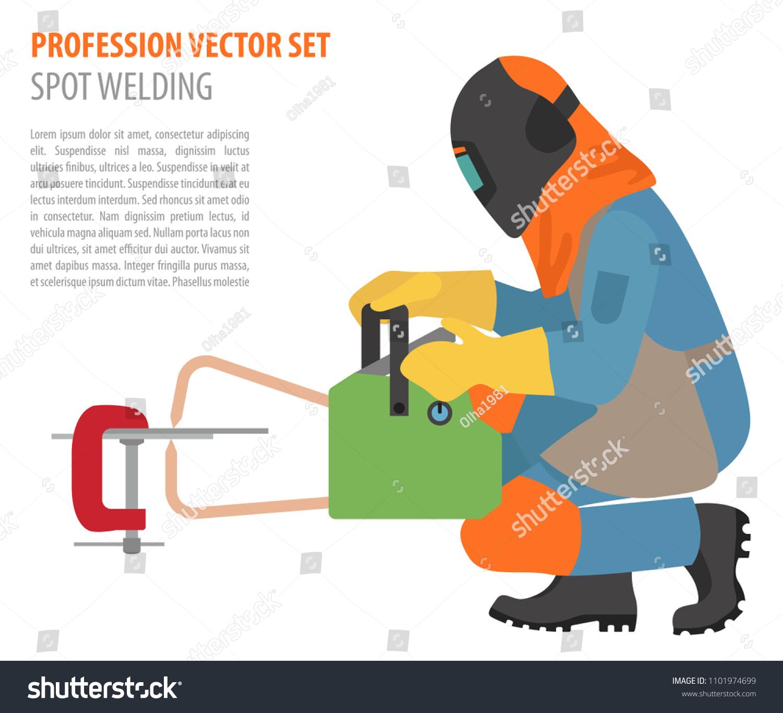 Welder Equipment Diagram Electrical Wiring Diagrams Mig Welding Profession Occupation Set Metal Stock Vector Craftsman Parts