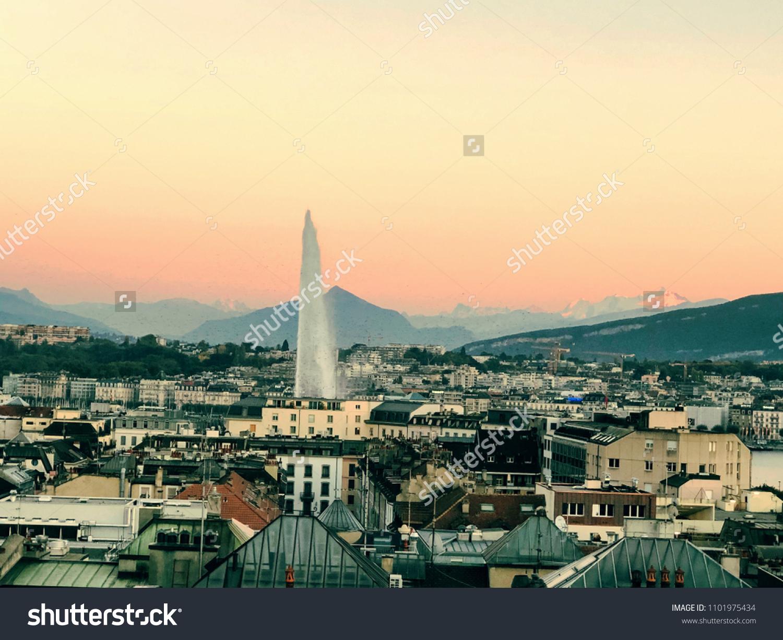 Beautiful Geneva Fountain Rooftop Warwick Hotel Stock Photo Edit