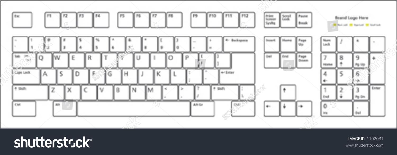 Standard 101 Keys Pc Keyboard Layout Stock Vector 1102031
