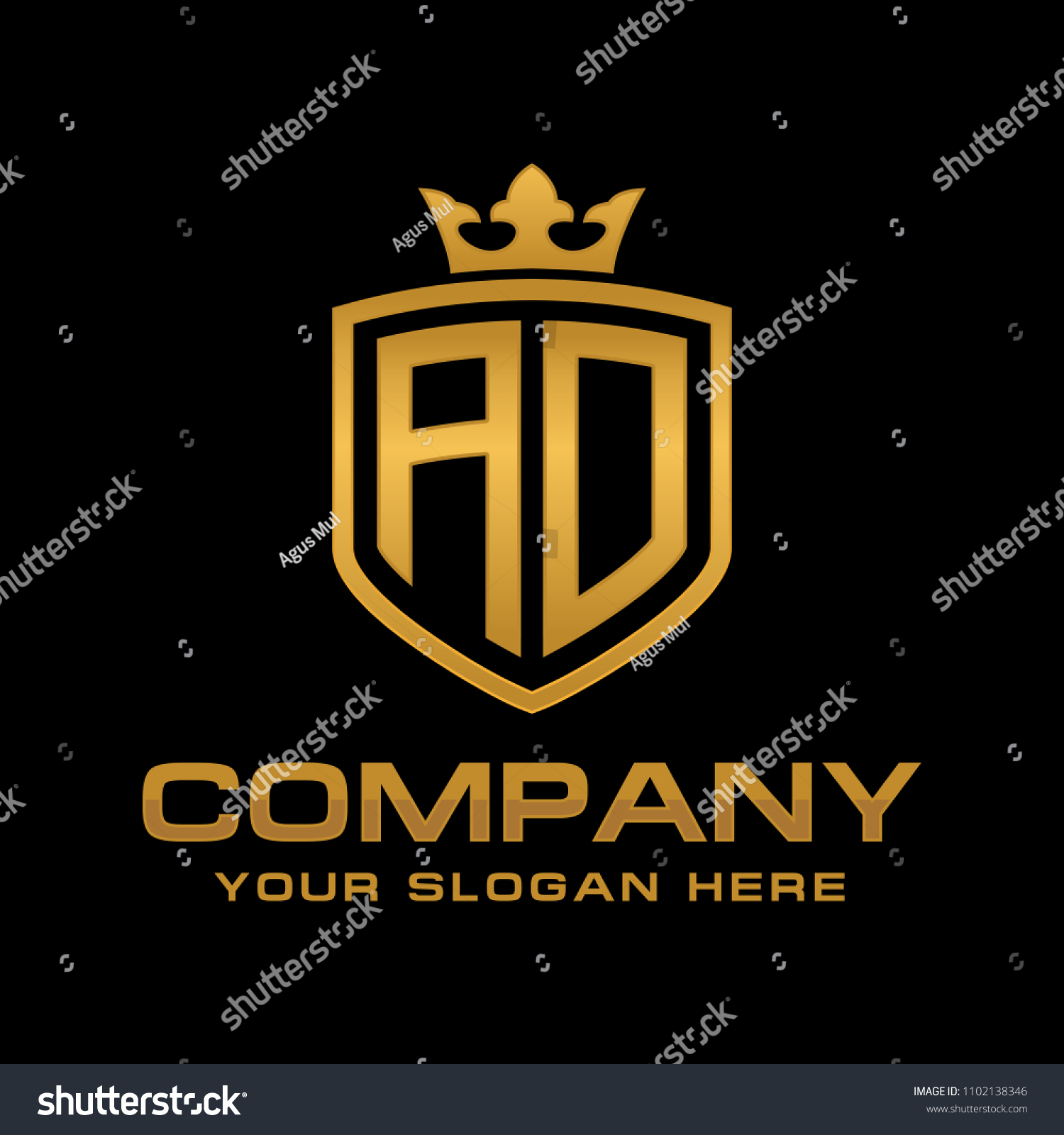 Letter Ad, Initial With Shield And Crown, Luxury Logo Design