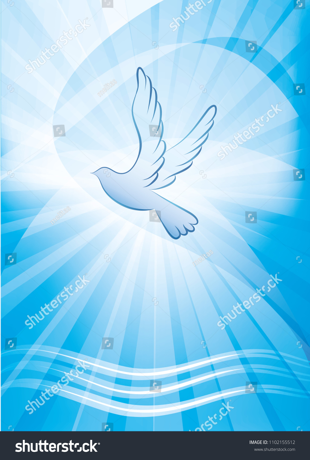 Christian Baptism Symbol Dove Waves Water Stock Vector Hd Royalty