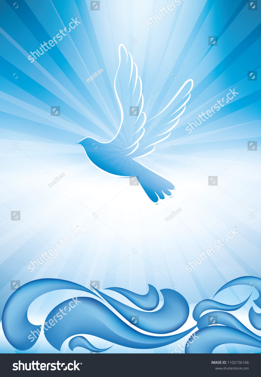 Christian Baptism Symbol Dove Waves Water Stock Vector 1102156166