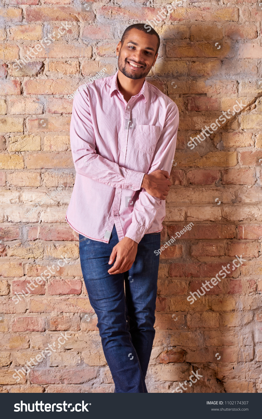 f080f283 Portrait Happy Handsome Young Man Pink Stock Photo (Edit Now ...