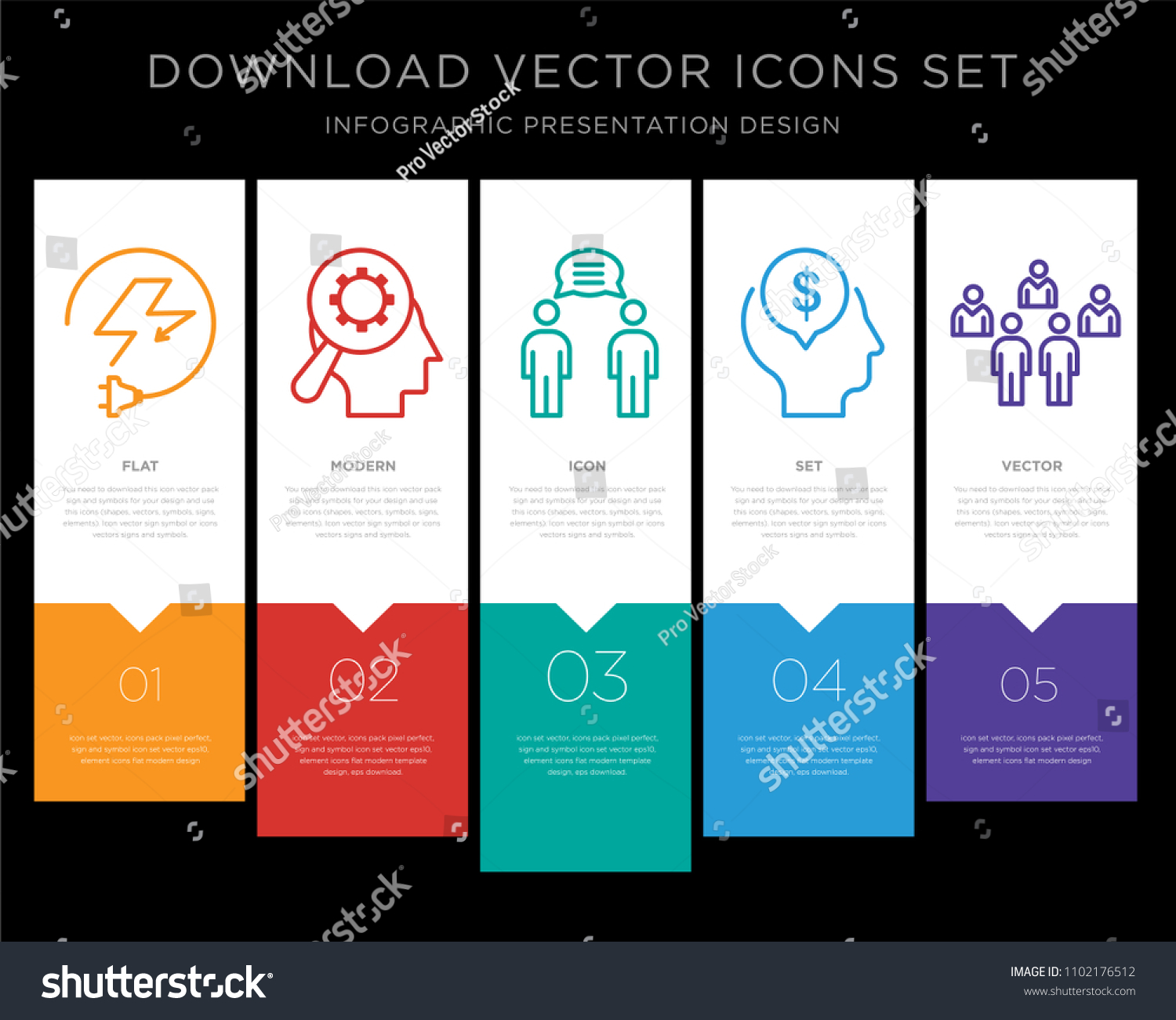 5 Vector Icons Such Electricity Cognitive Stock Vector 1102176512 ...