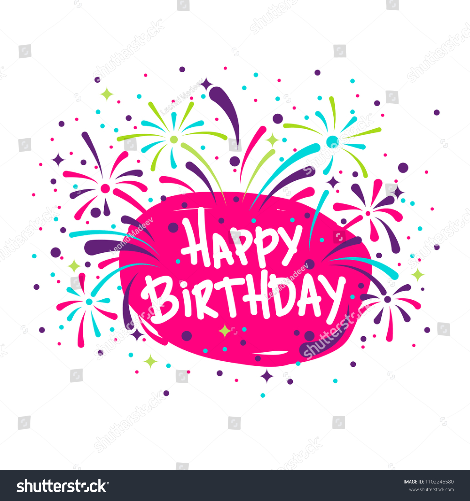 Vector Image Birthday Greetings Confetti Fireworks Stock Vector