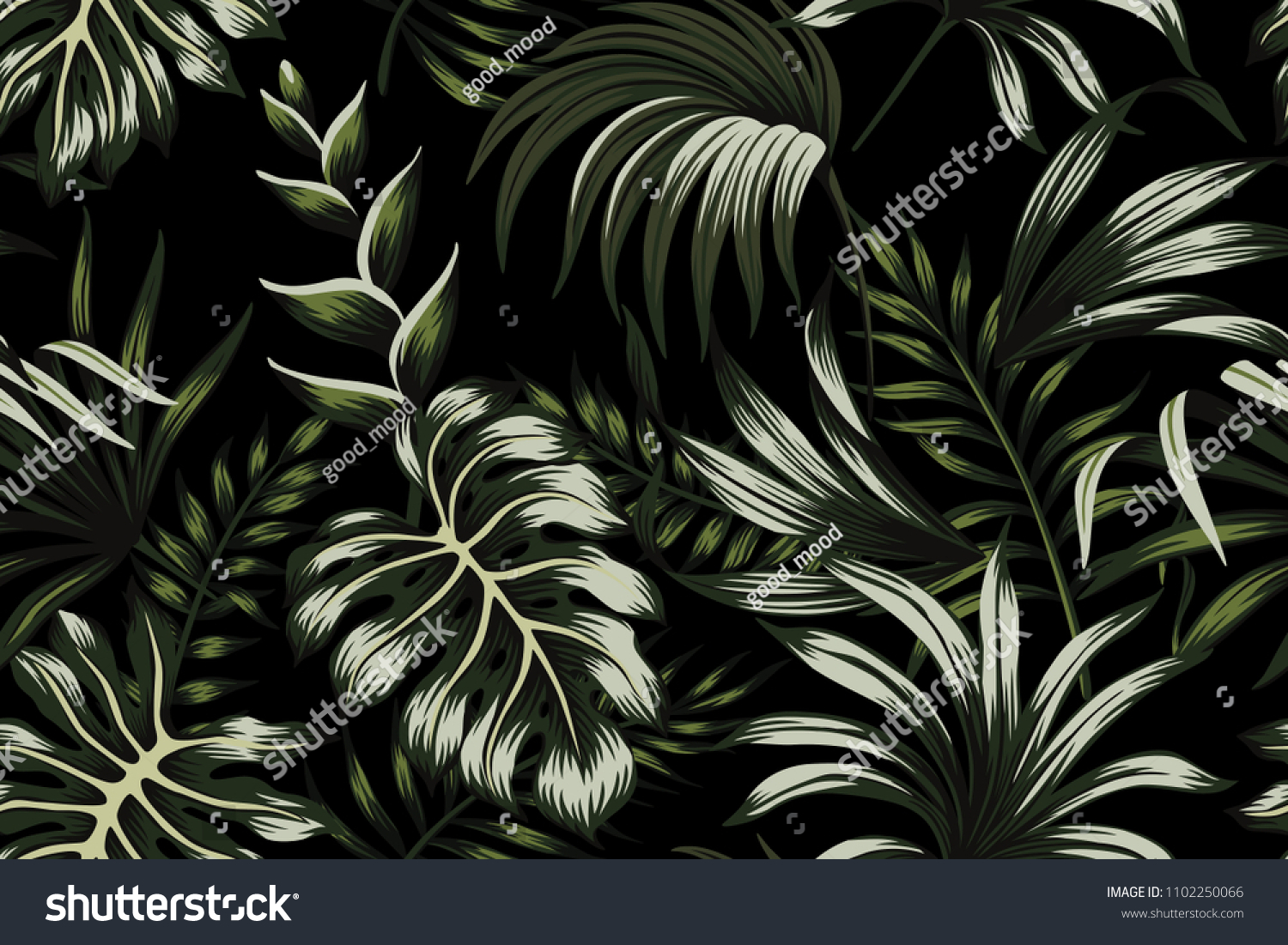 Tropical Dark Green Palm Leaves Seamless Pattern Black Background Exotic Wallpaper