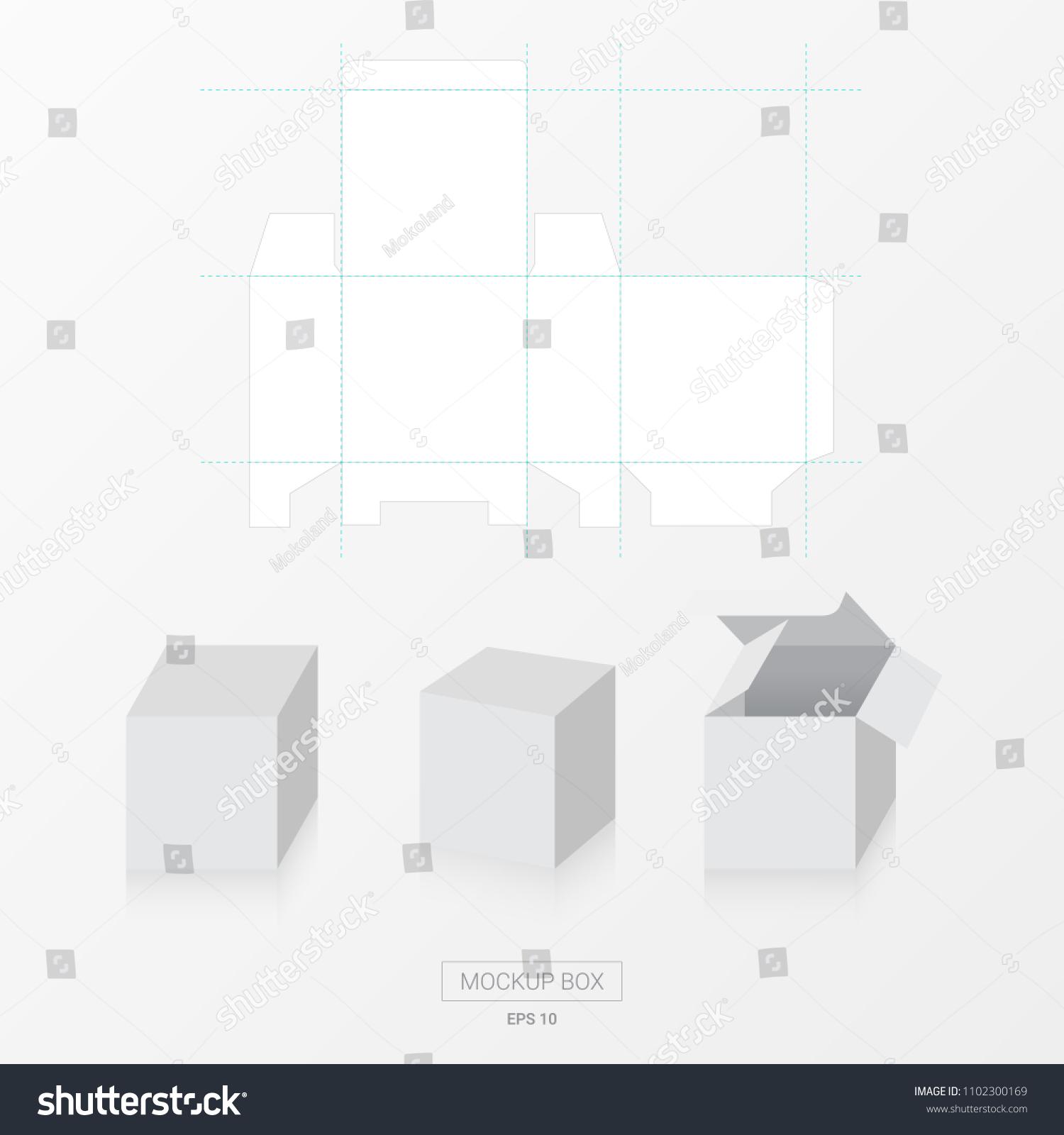 mockup box die cut template vector stock vector royalty free