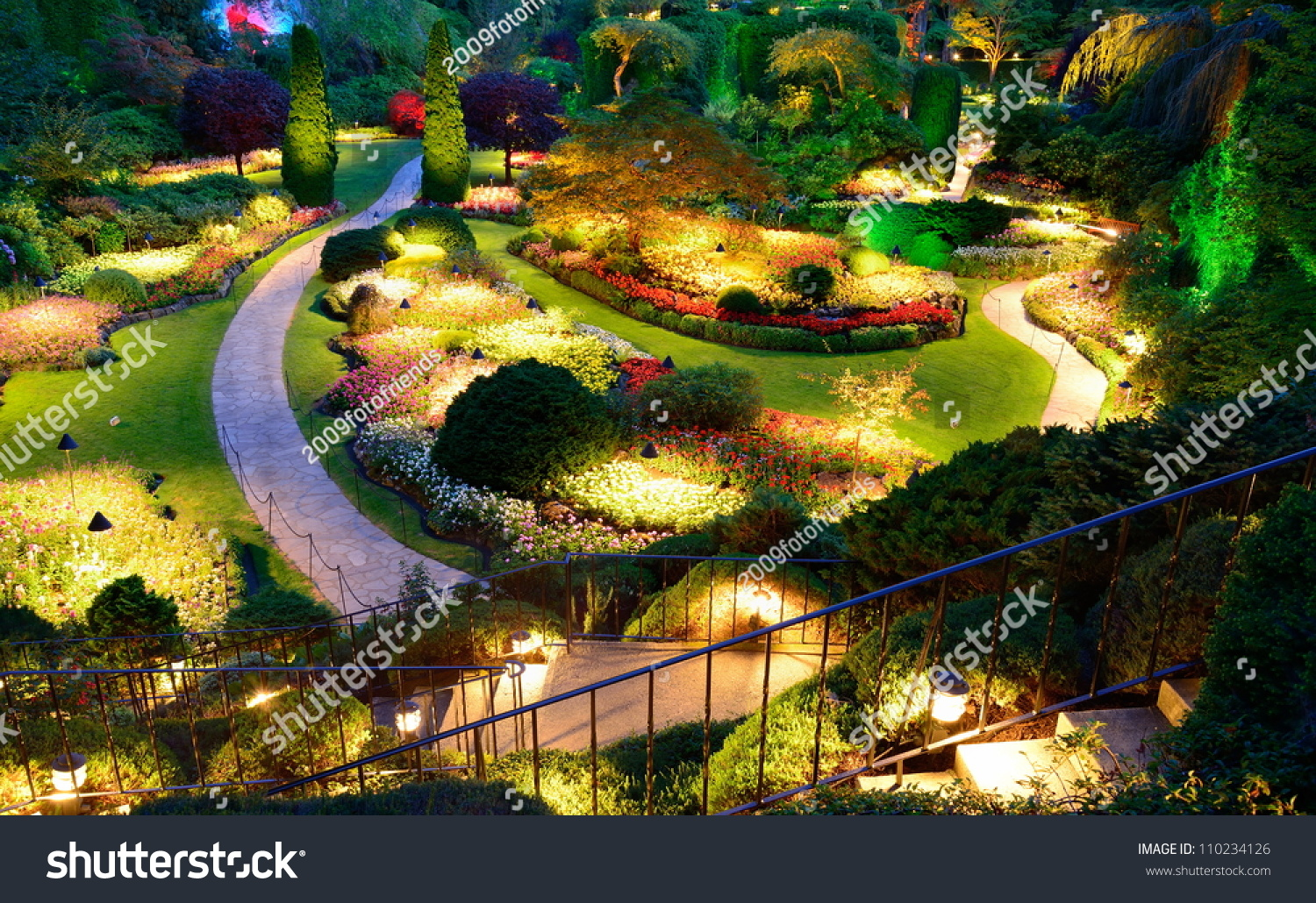 Night Lighting Of National Historical Site Butchart Garden