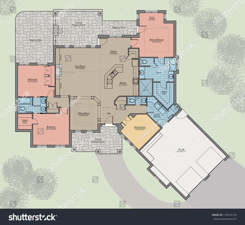 large bungalow floor plan colored landscape stock illustration large bungalow floor plan colored with landscape