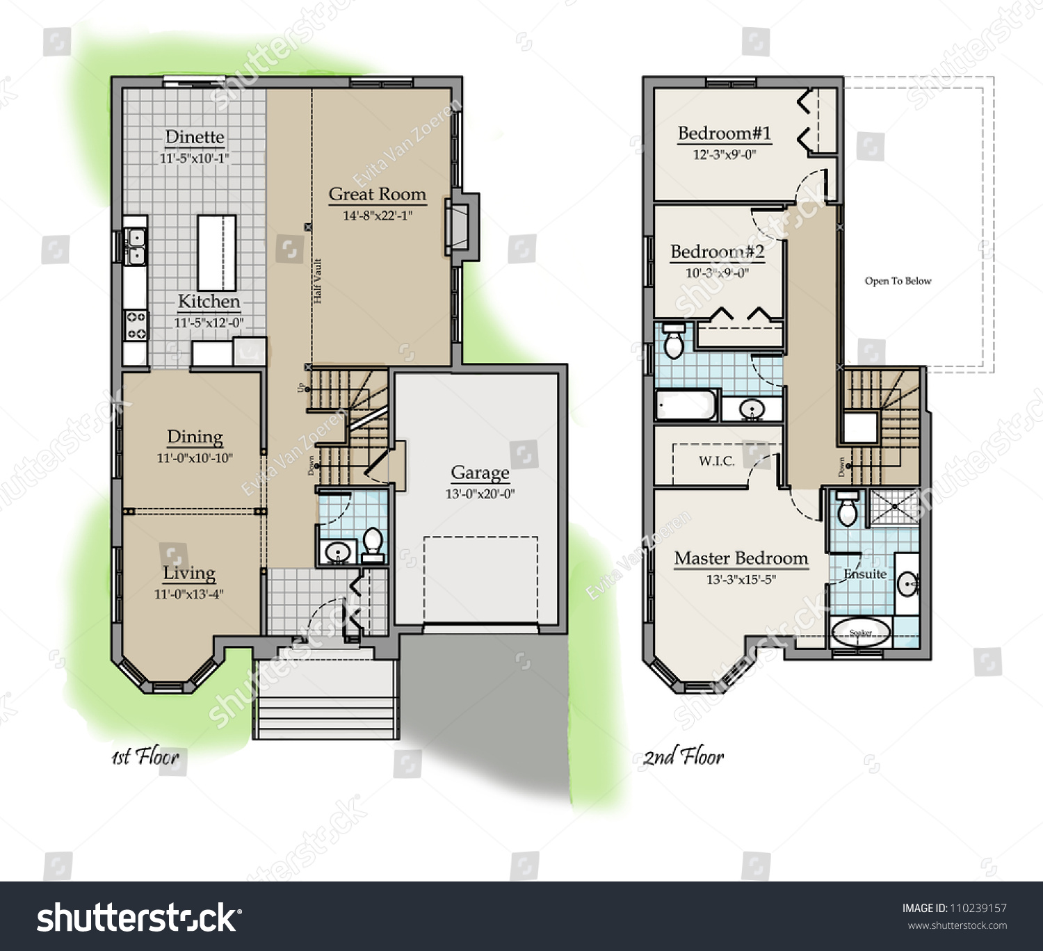 Two storey floor plan colored with room names stock photo for Floor plan two storey