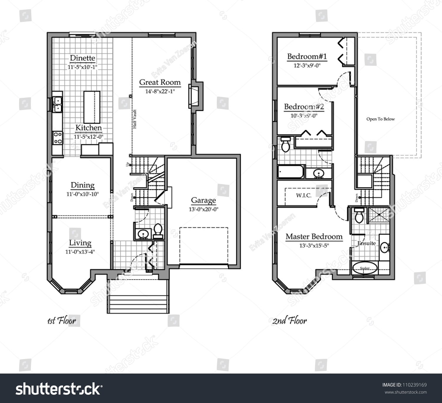 Two storey floor plan with room names stock photo for Stock floor plans