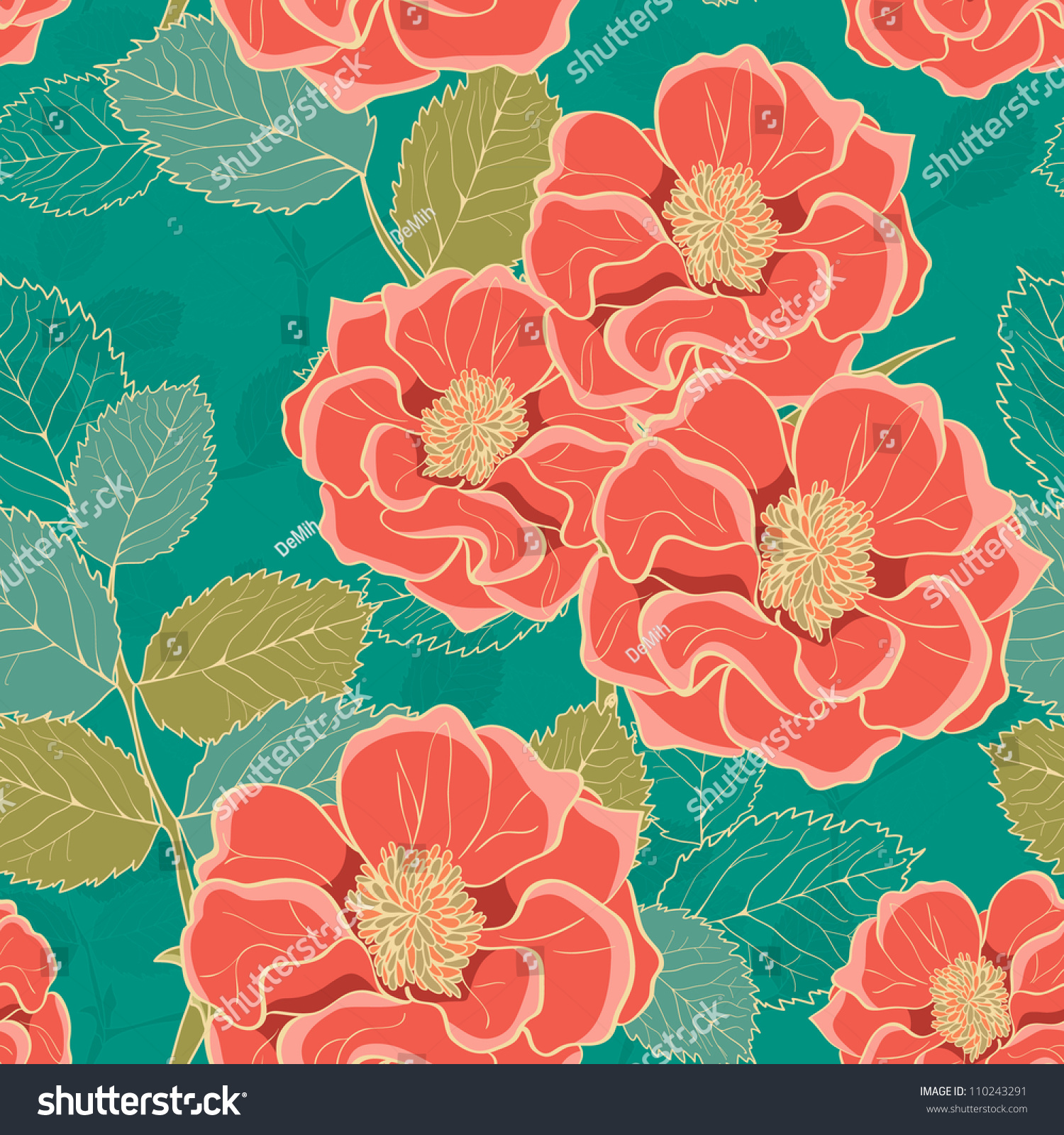 Floral Wallpaper Handdrawn Flowers Retro Colored Stock Vector ...