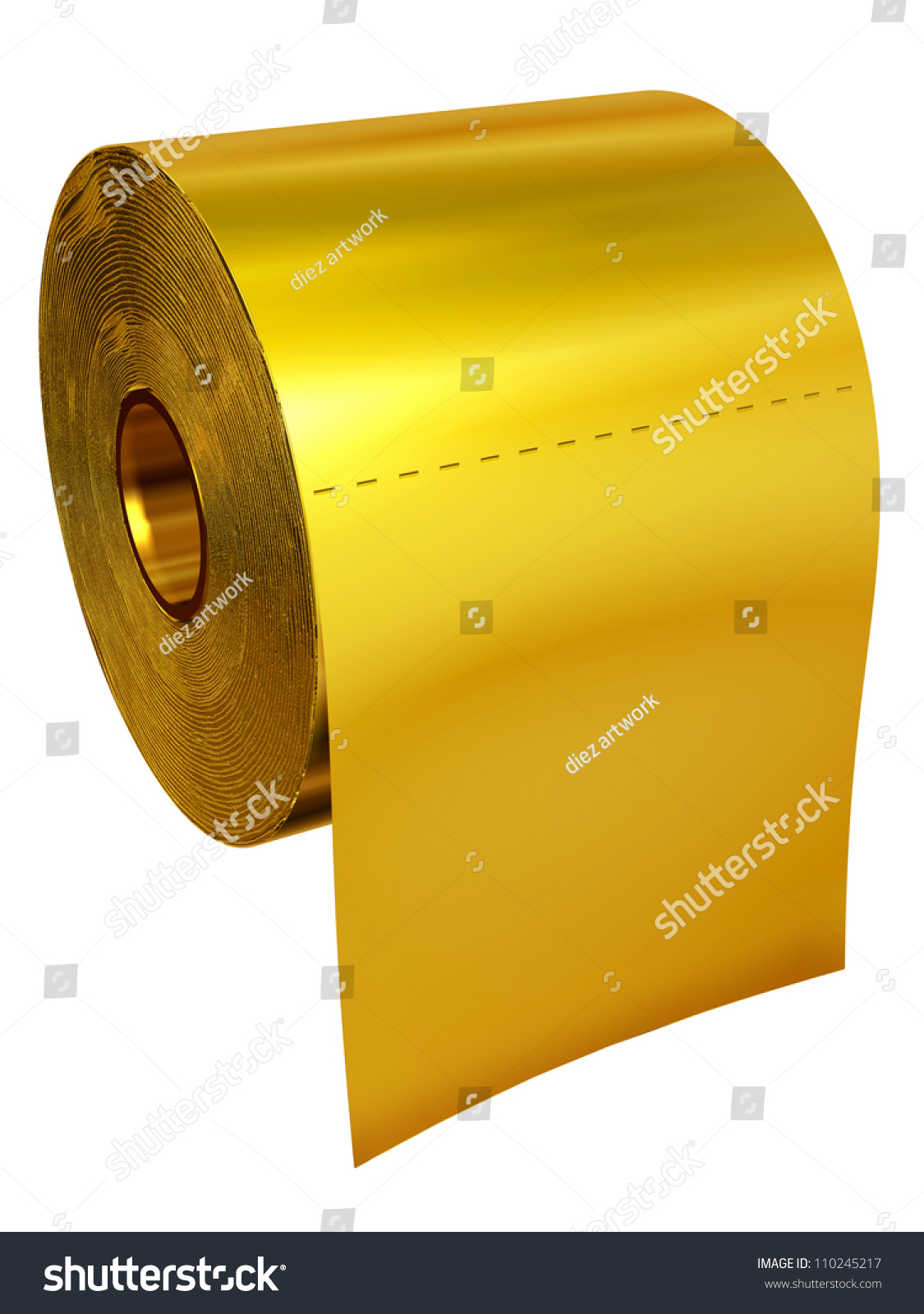 toilet made of gold. Roll of toilet tissue made gold Toilet Tissue Made Gold Stock Illustration 110245217