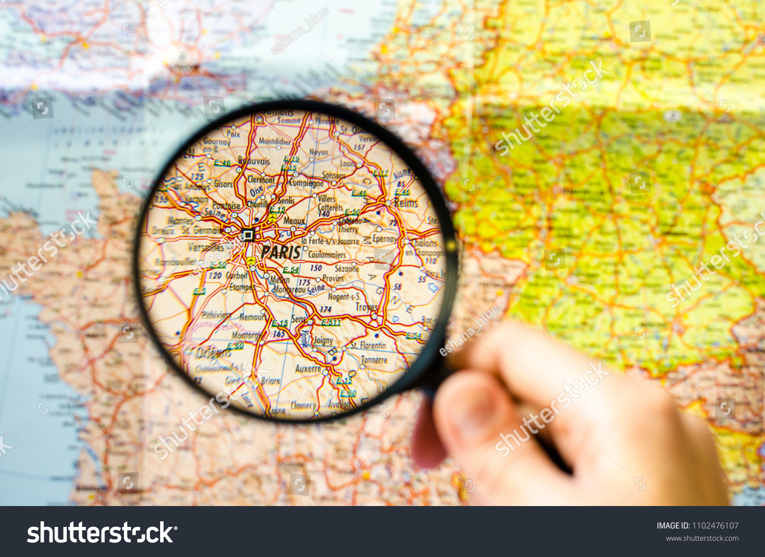 Paris On Map Of Europe.Paris On Map Europe Under Magnifying Stock Photo Edit Now