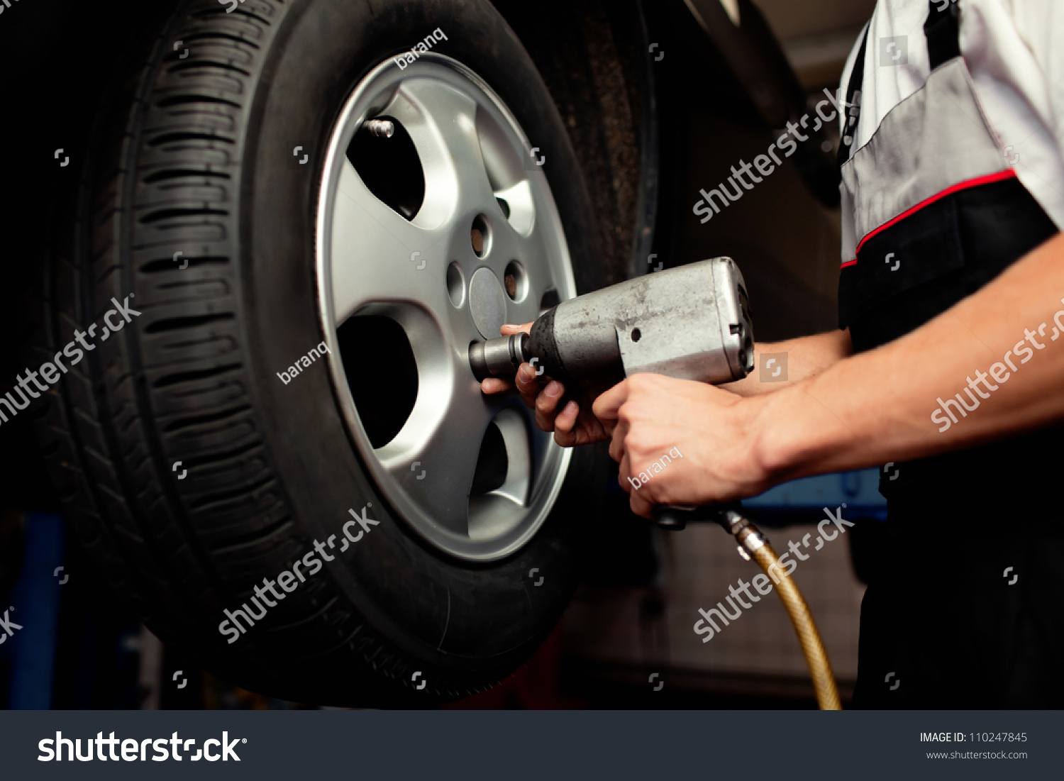Auto Mechanic Changing Car Wheel Stock Photo Edit Now 110247845 Single Disc Brakerepair And Parts Replacement Diagram