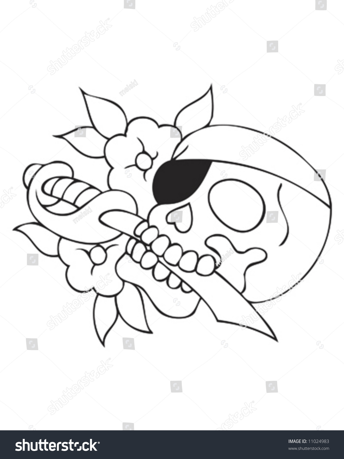 pirate skull tattoo outline stock vector 11024983 shutterstock
