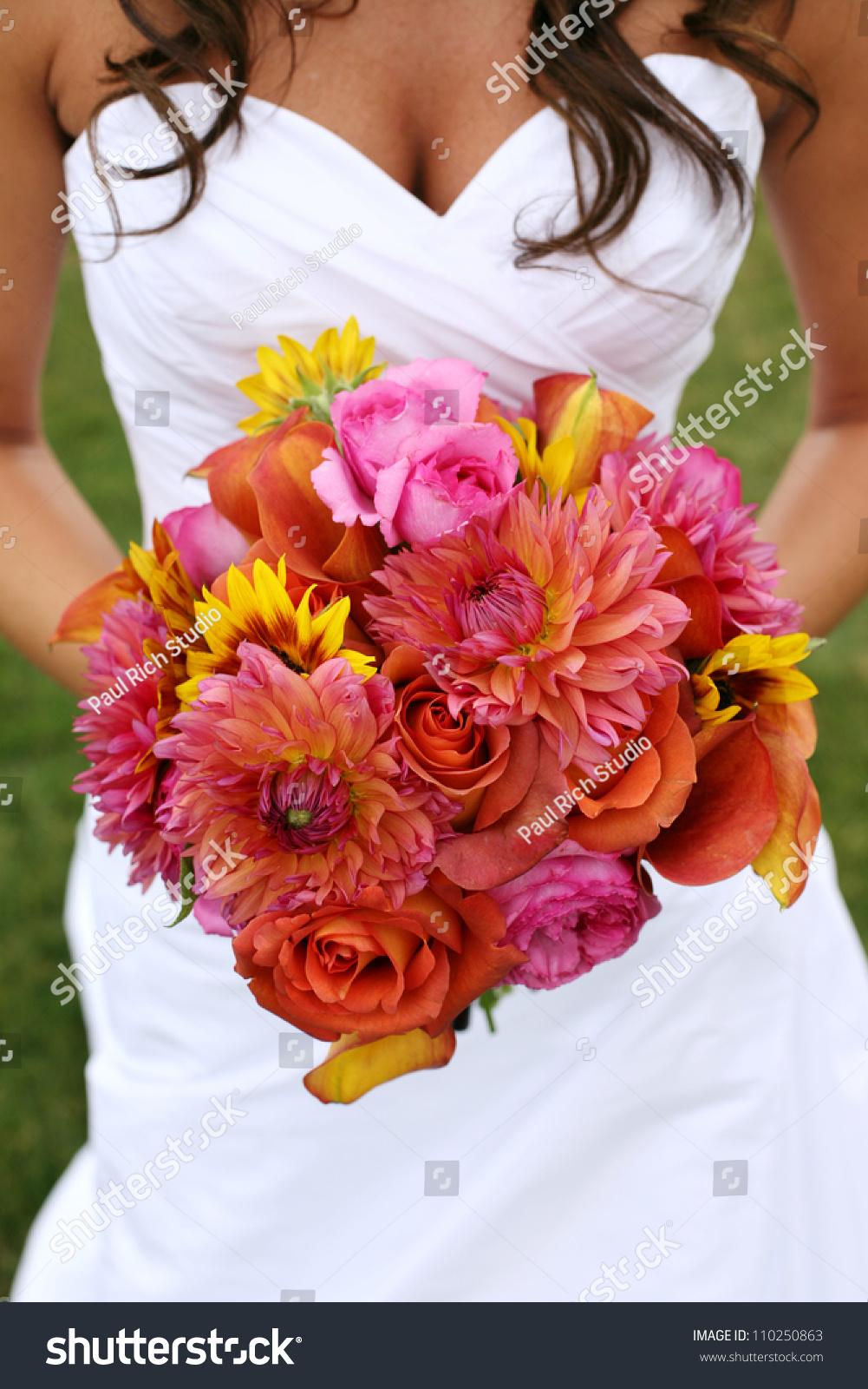 Bride Holding Wedding Bouquet Orange Pink Stock Photo Edit Now