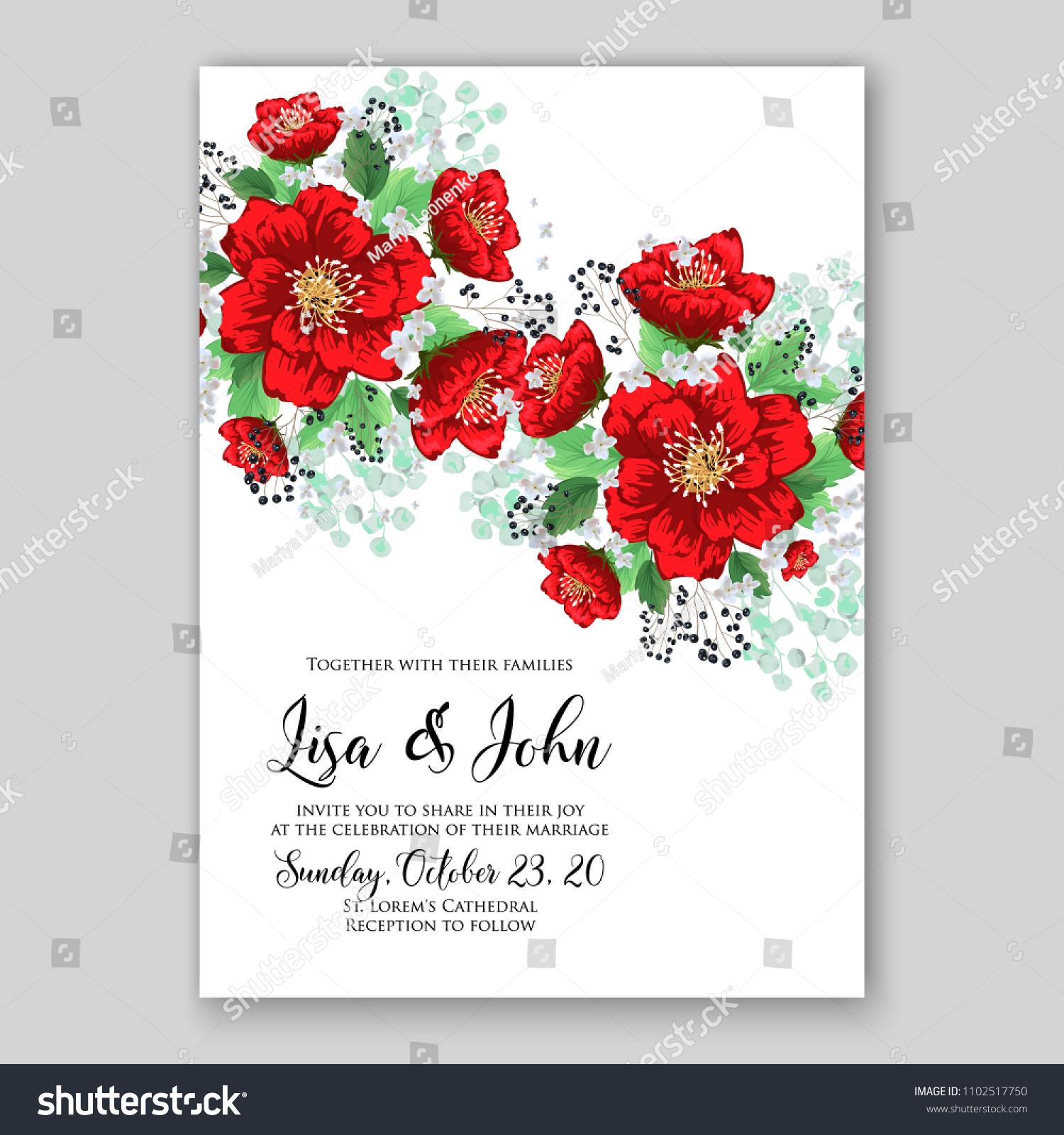 Wedding Invitation Vector Printable Template Card Stock Vector ...