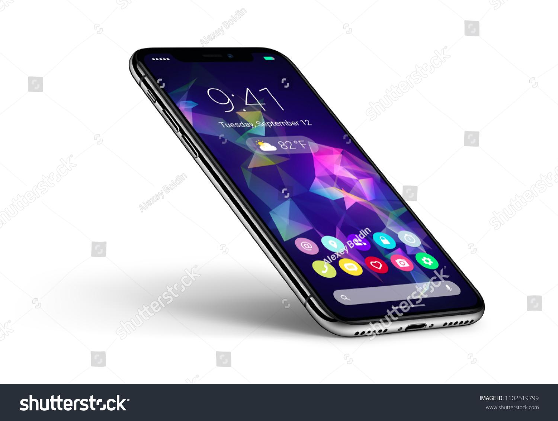 Perspective Veiw Smartphone Material Design Flat Stock Illustration ...