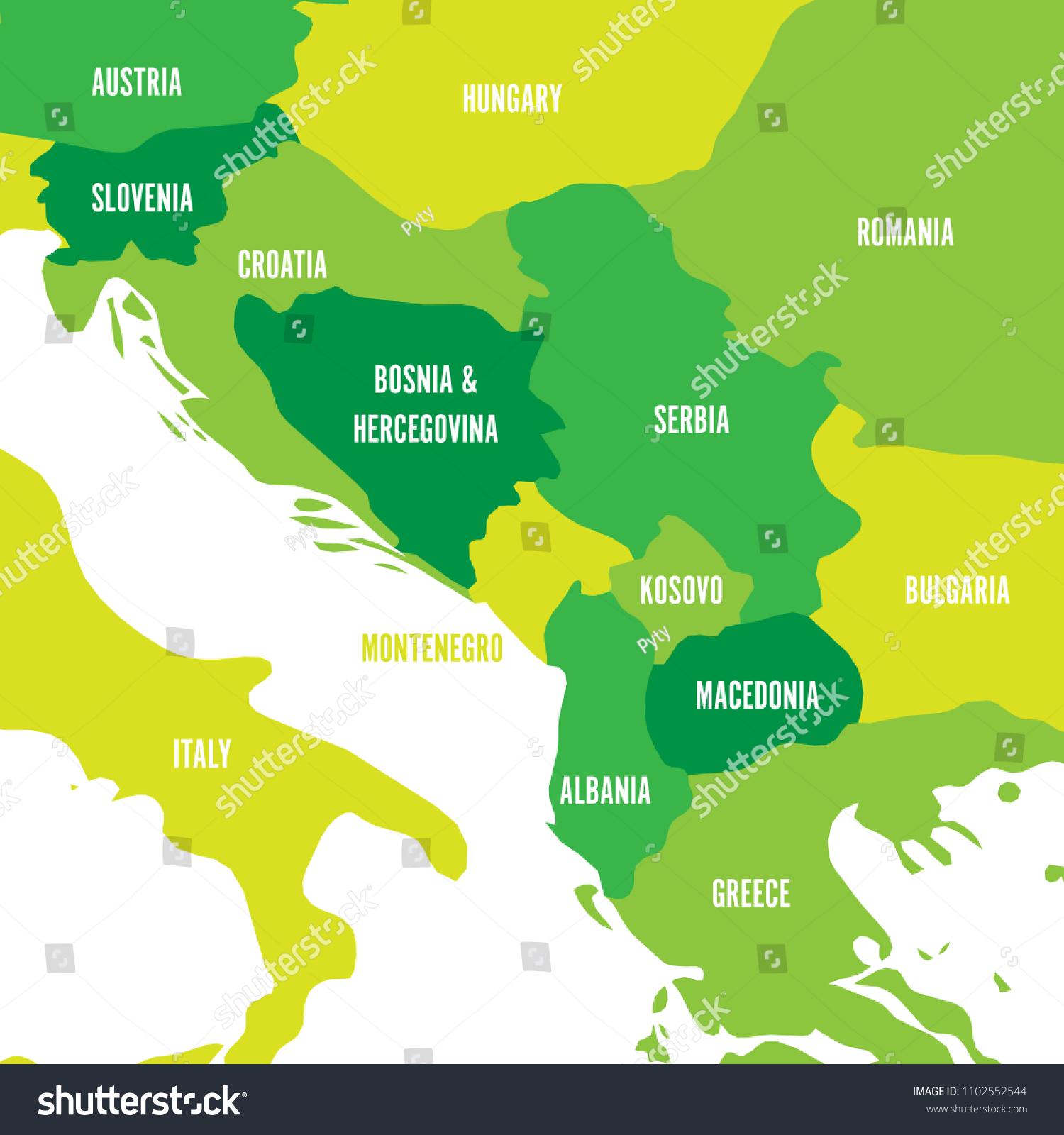 Political Map Balkans States Balkan Peninsula Stock Vector (Royalty ...