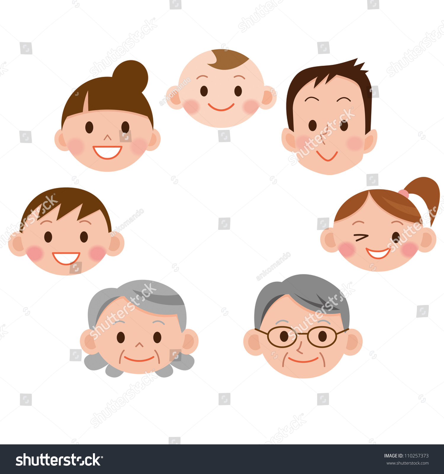 cartoon family face icons stock illustration 110257373