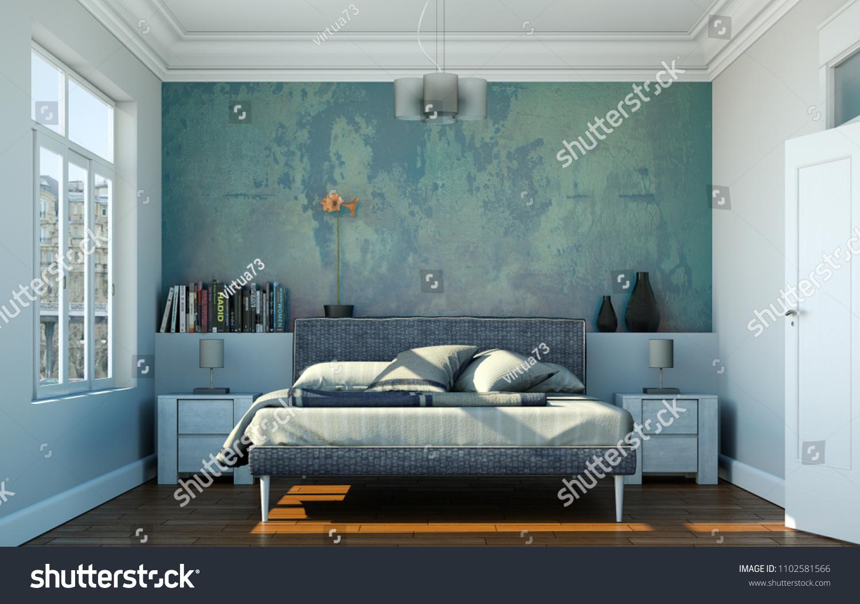 Modern Bedroom Kingsize Bed Modern Decor Stock Illustration 1102581566