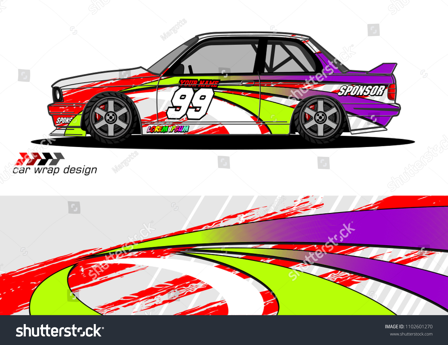 Racing Graphic Background Car Vinyl Wrap Stock Vector Royalty Free